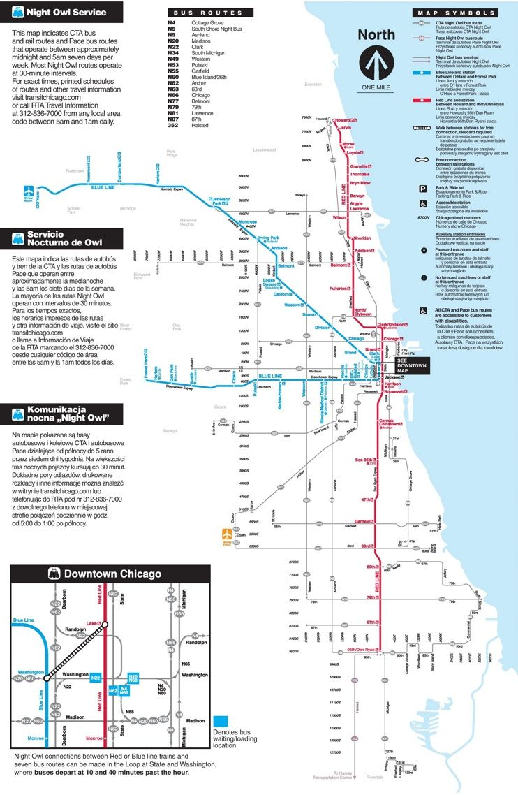 Chicago Night Transport Map Maps Pinterest Chicago Metro - Chicago metro map