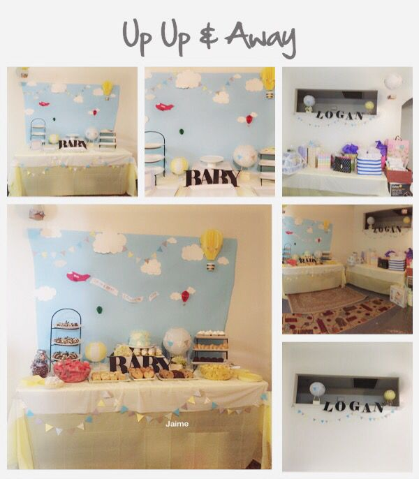 Up up & away simple baby shower Decor 3-D free hand airplane & air ballon