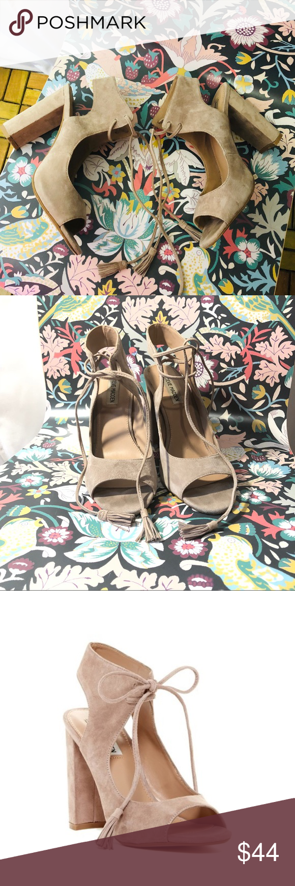 744f5274fbe Steve Madden Taupe Charlea Lace Up Heel Sandal 8.5 Steve Madden Taupe  Charlea Lace Up Block Heel Suede Sandal 8.5 •Tassels accent the ends of  this tie front ...
