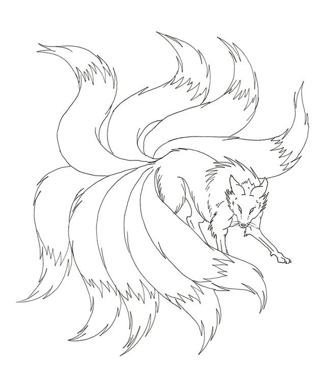 Naruto Nine Tails Coloring Pages Fox Tattoo Design Fox Art Fox Artwork
