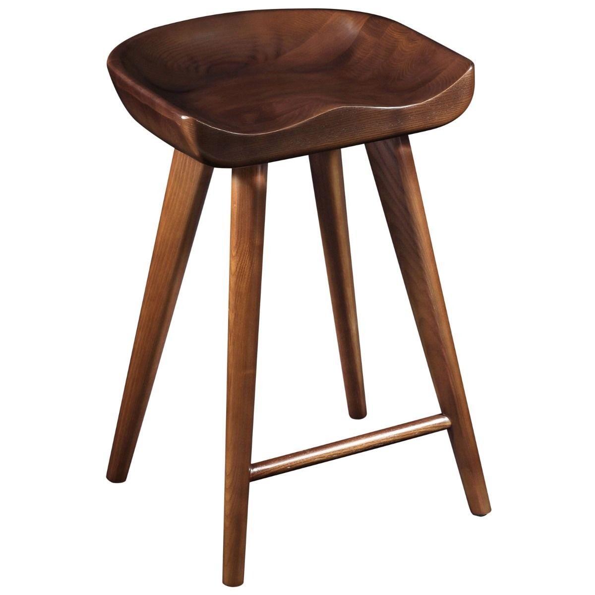 Banco para bar stool de madera solida de nogal for Bancos de madera para barra