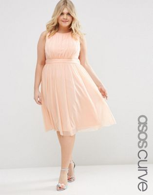 asos curve midi dress with ruched mesh | plus size inspiration