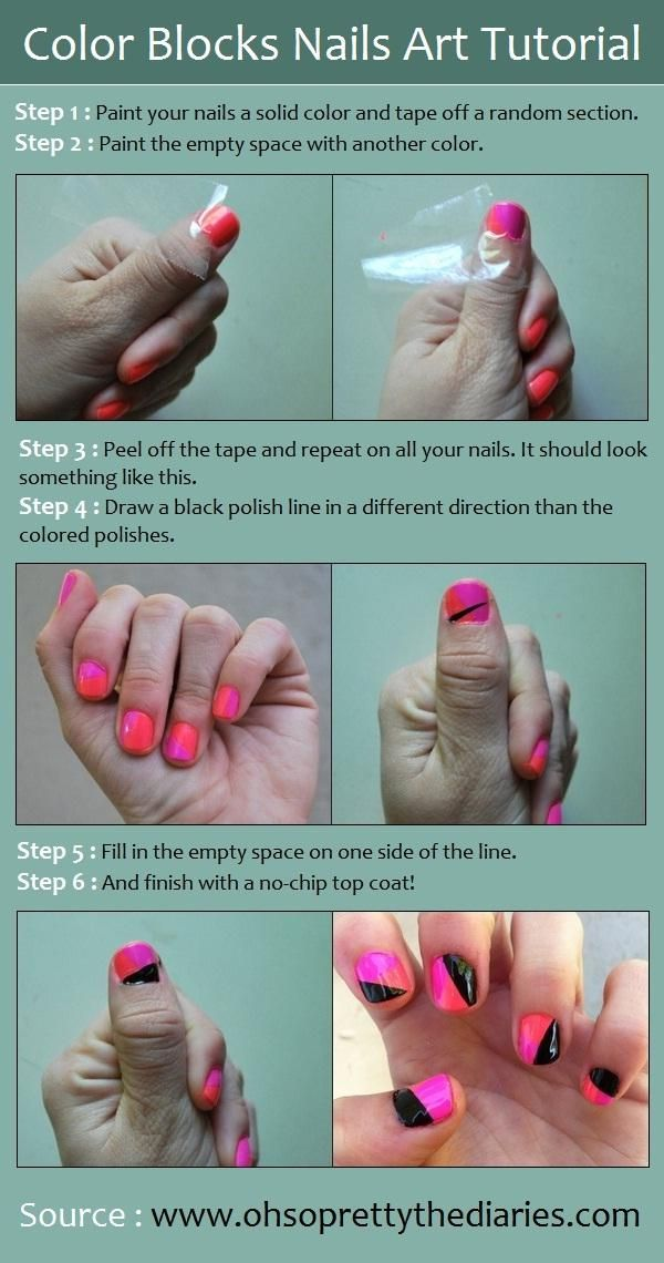 Color Blocks Nails Art Tutorial