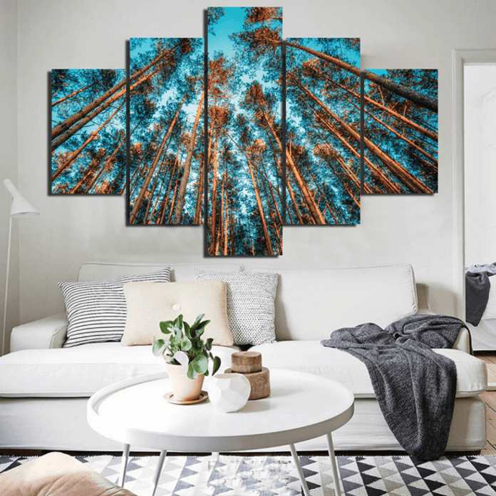 5 panel nature forest landscape framed modern wall canvas on canvas wall art id=48854