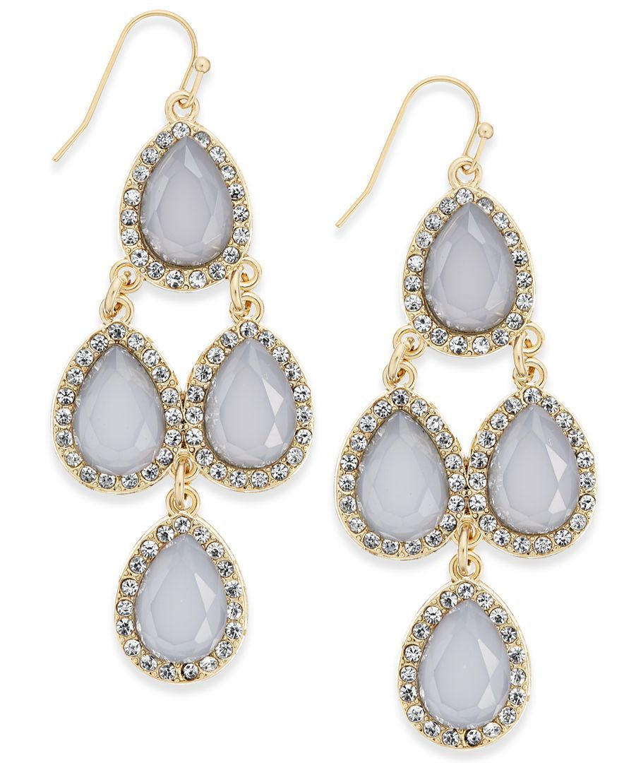 Inc International Concepts Gold-Tone Gray Crystal Chandelier Earrings, Only at Macy's