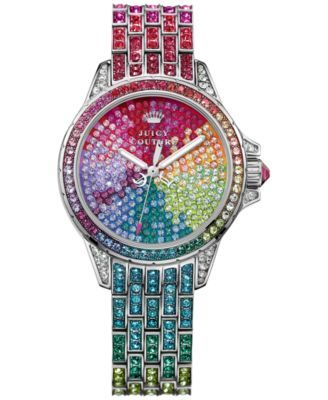 Juicy Couture Women's Stella Rainbow Crystal Stainless Steel Bracelet Watch 36mm 1901264