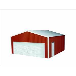 Versatube 20 Ft X 20 Ft X 10 Ft Garage Vs2202010516rw The Home Depot Metal Building Kits Metal Buildings Metal Shop Building