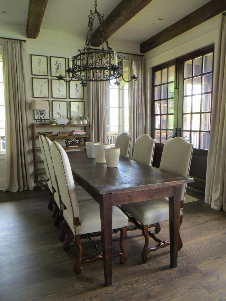 Antique dining room setting with the french farm table and for French farmhouse dining chairs