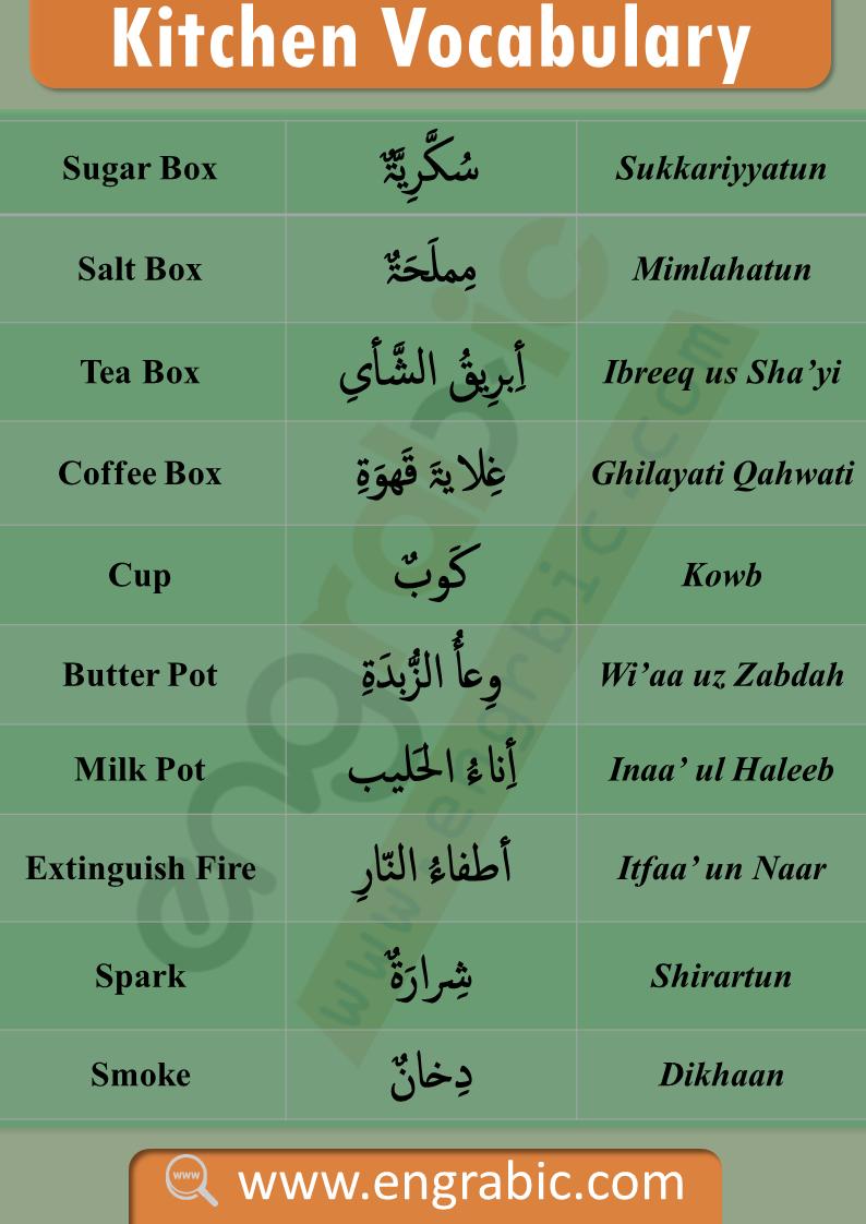Kitchen Vocabulary م فر د ات الم طب خ Arabic Language Learn Arabic Language English Language Learning Grammar