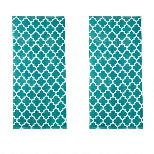 Teal Trellis Fiber Reactive Printed Beach Towels Set Of 2