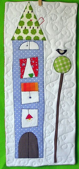 Appliqued house and tree quilt wall hanging