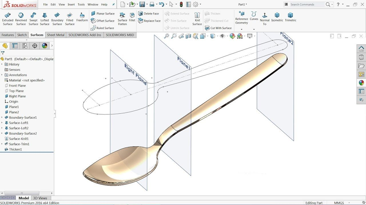 Solidworks Surface Tutorial | How to make Spoon in Solidworks ...