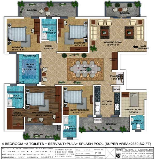 Floor Plan Of 4 Bedroom Apartment 3 Toilets Servant Room Puja Place Splash Pool With 2350 Sq Ft Super Area Apartments Homes