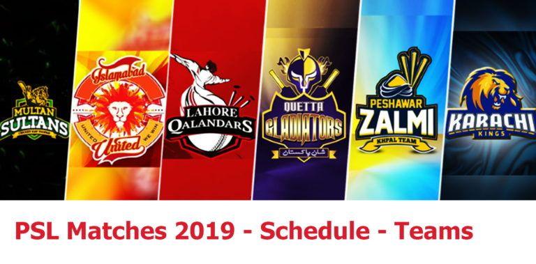 PSL Matches 2019 Teams, Timetable & Schedule Psl