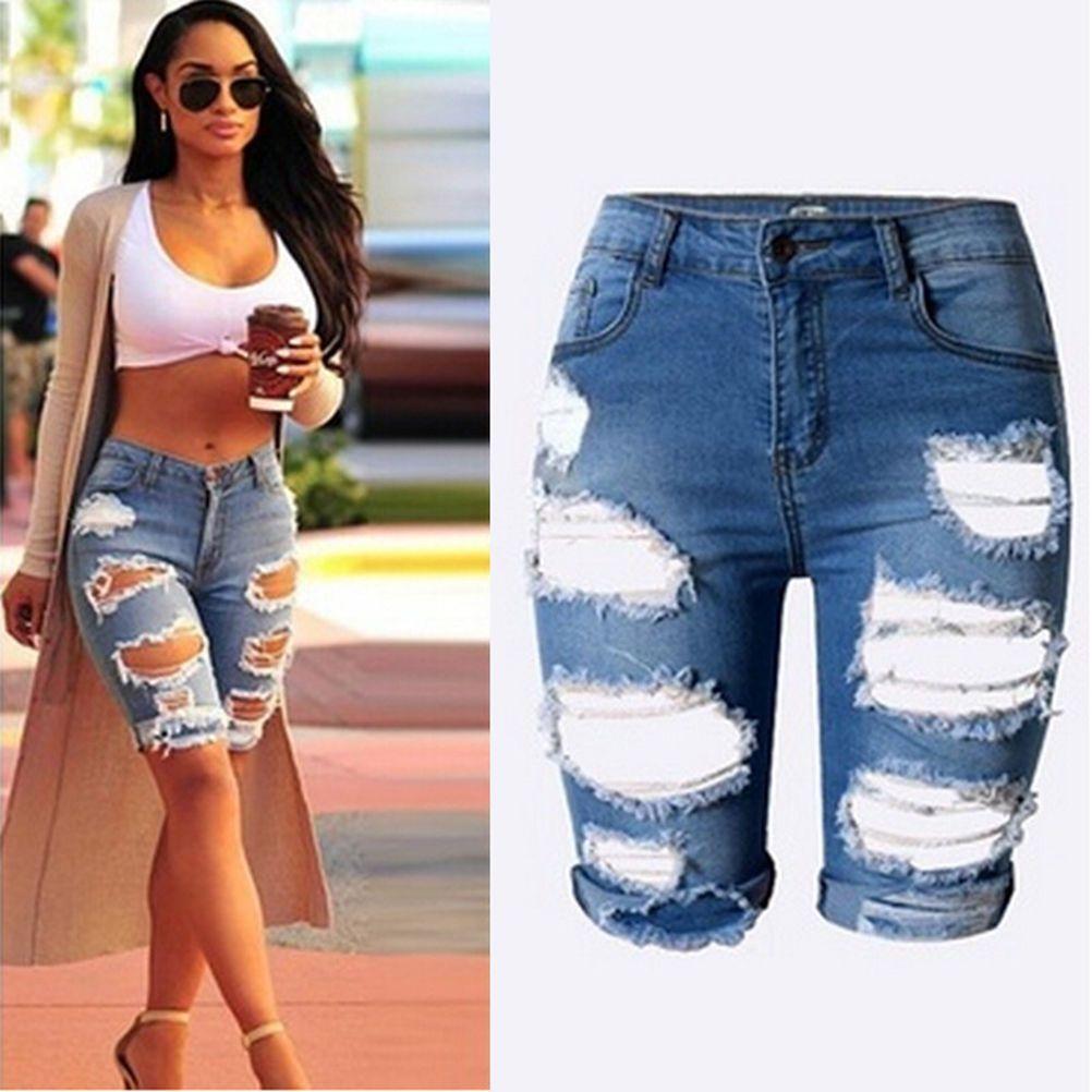 Special Women Ladies Denim Shorts Stretch Ripped Hole Denim Jeans ...