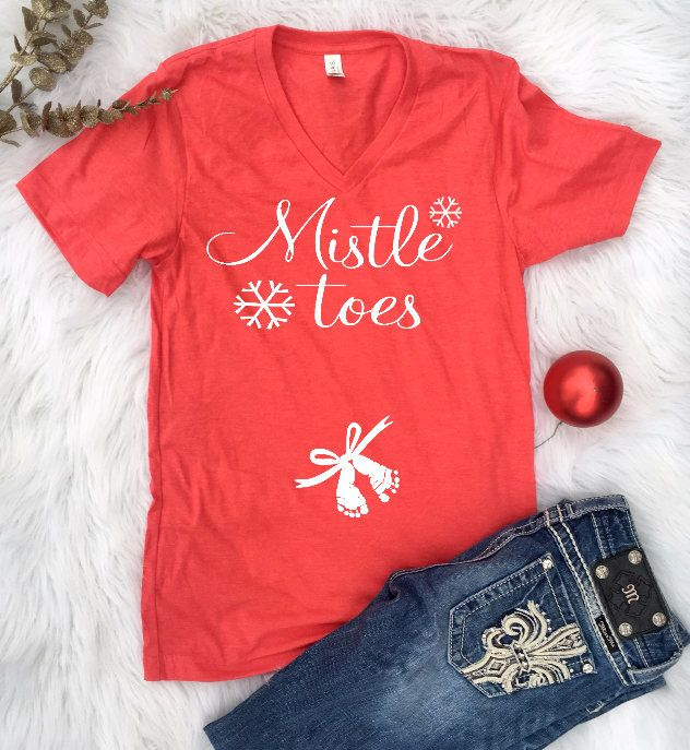 7e5f694ebcdc5 Excited to share the latest addition to my #etsy shop: Christmas Maternity, Christmas  Pregnancy Announcement, Mistle Toes, Maternity Christmas Shirt, ...