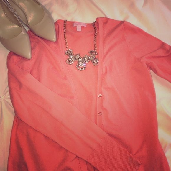 Lilly Pulitzer coral cardigan! Size large but runs smaller, true size medium! (See my closet for the J. Crew statement necklace!) Lilly Pulitzer Sweaters Cardigans