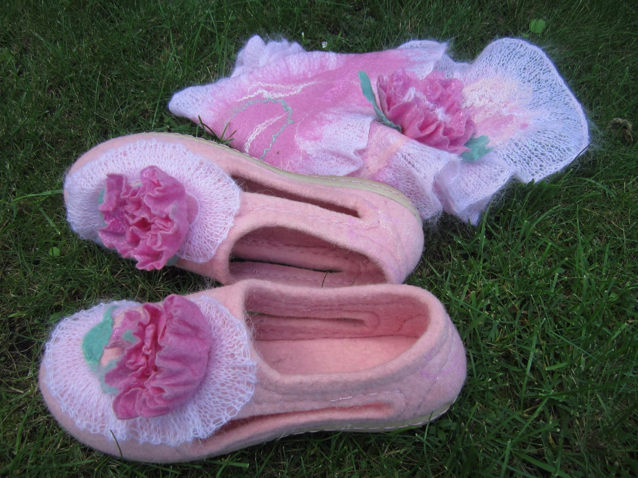 wool felted shoes with flower and knitted frill. Handmade
