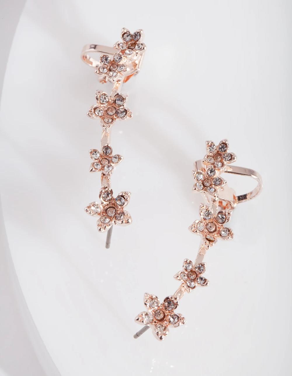 Rose Gold Diamante Flower Ear Cuff Flower Ear Cuffs Ear Cuff Flower Ear