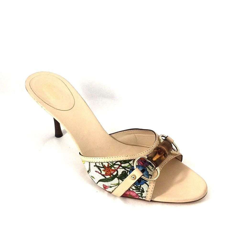 aeed727c8164 GUCCI Mule Canvas Open Toe 10.5 B Slide Slip On Heel Sandal Bamboo Floral  138713  Gucci  Mules  Any