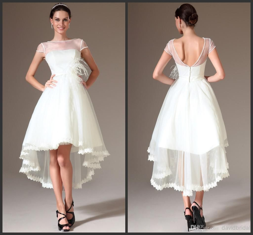 Exquisite dulcea hi lo wedding dresses pearl bead sheer for High low wedding dresses cheap