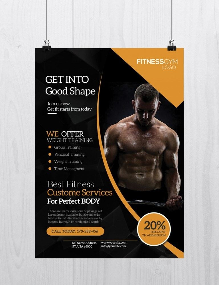 Get into shape free fitness psd flyer template flyer