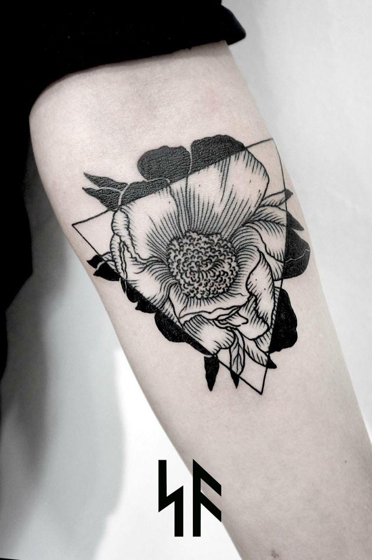 Andrey svetov black grey flower triangle ink pinterest grey black flower to white flower in triangle tattoo dhlflorist Images