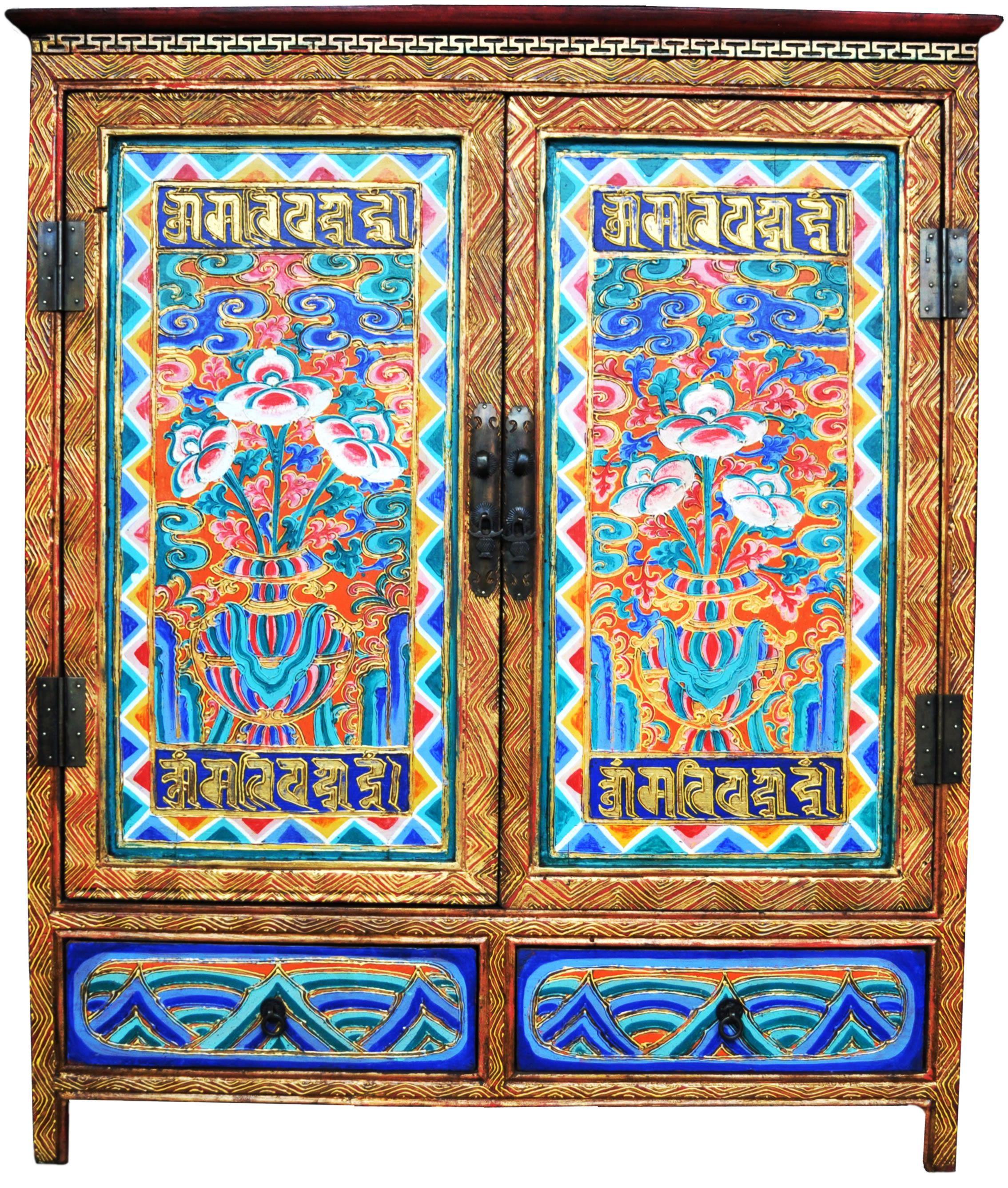 Lovely Hand Painted Tibetan Cabinet | Tibetan Furniture Hand Painted OM MANI PADME  HUM