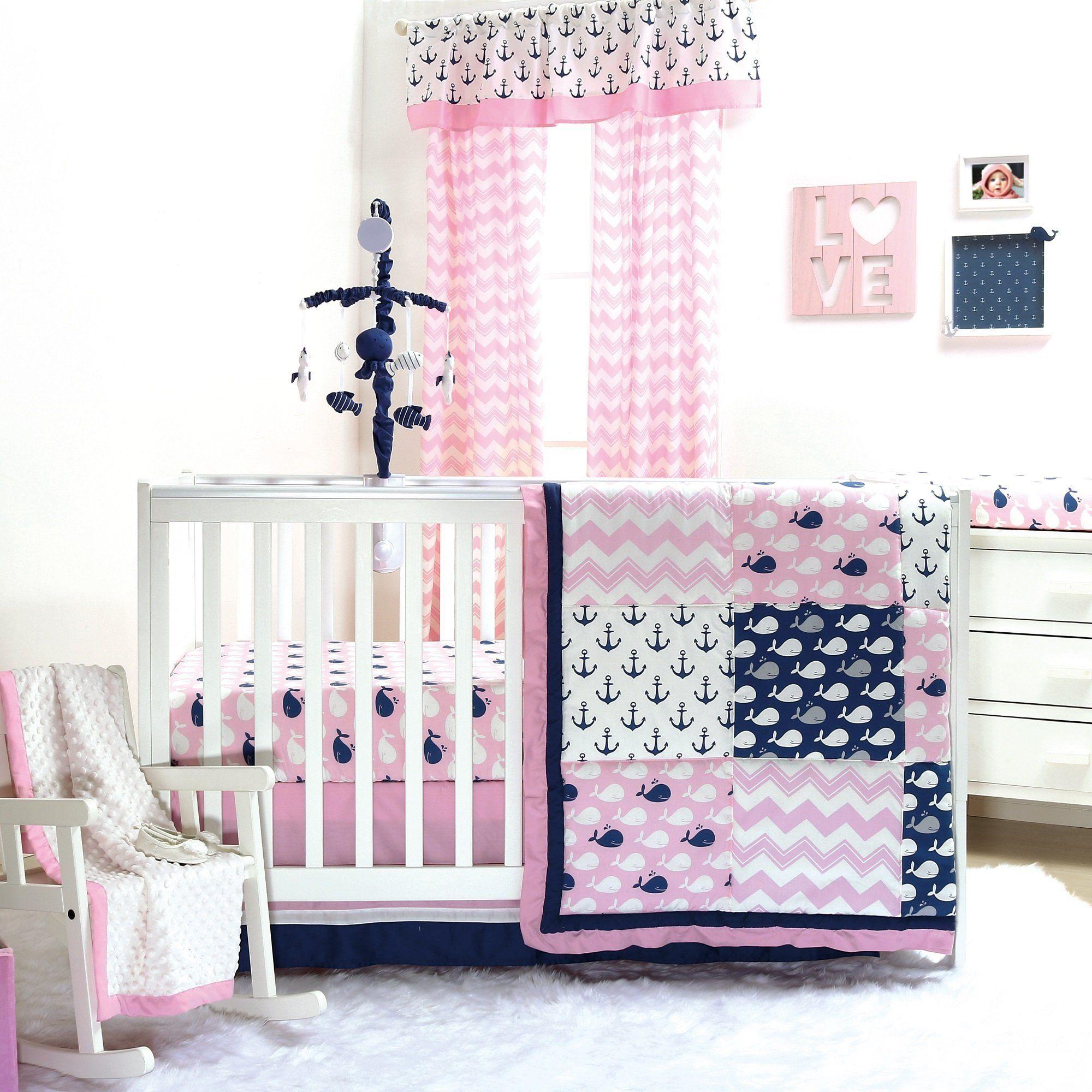 The Peanutshell Pink Whale Crib Bedding Set Crib Bedding Girl