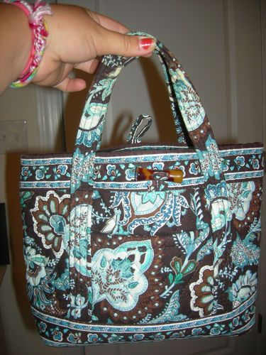Vera Bradley Java Blue (brown and turquoise) purse bb9f153afb801