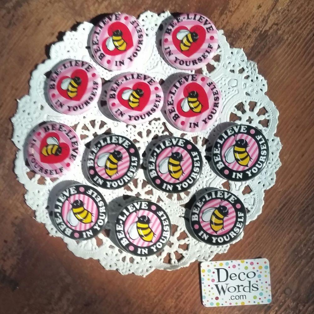 """DECO Encouragement PINS 12 BUMBLE BEE 1.25"""" PIN BACK BUTTONS BADGES Party Favors #DecorativeGreetingsInc #PinbackBUTTONBADGE"""