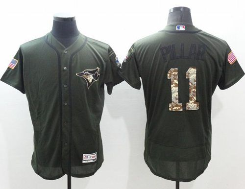 69c92af060a Blue Jays  11 Kevin Pillar Green Flexbase Authentic Collection Salute to  Service Stitched MLB Jersey