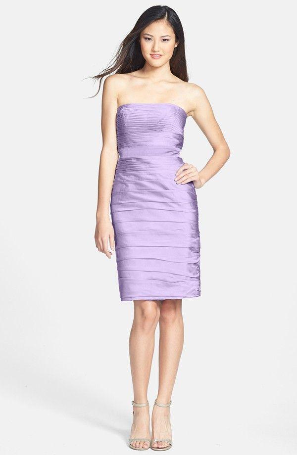 ML Monique Lhuillier Ruched Strapless Cationic Chiffon Dress ...