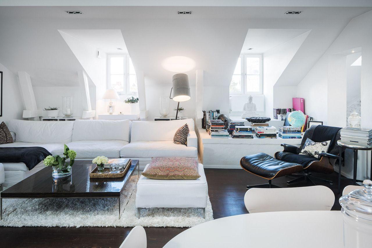 Attic living room with dark wooden floor   DECO INSPIRATION ...