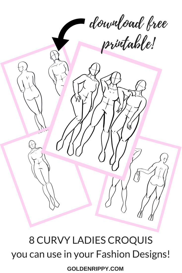 How to Make Fashion Illustrations Even if You Can't Draw! Plus free printable with curvy croquis made from real models! There's also a free course to go with these templates, if you want it.. ( I found it under the courses tab on the website). Snag these free pdf printable fashion templates!
