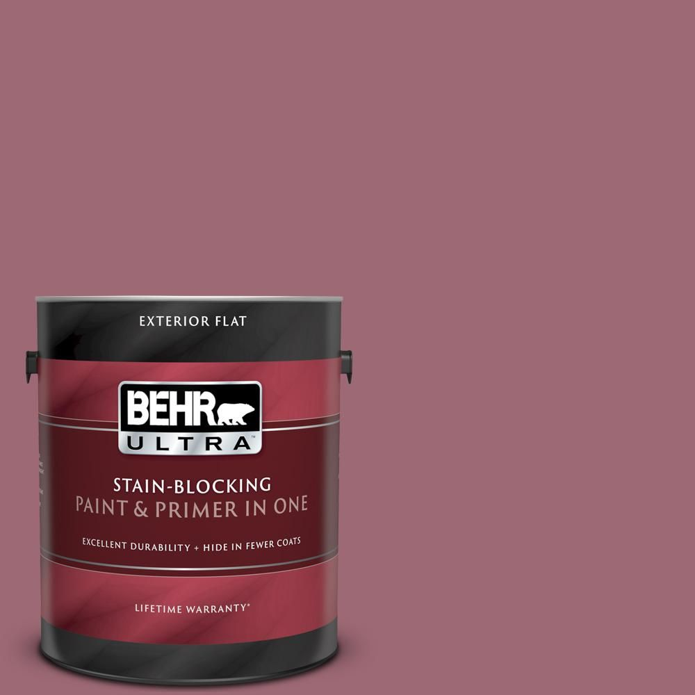 Behr Ultra 1 Gal 100d 5 Berries And Cream Flat Exterior Paint And Primer In One 485301 Exterior Paint Behr Paint Primer