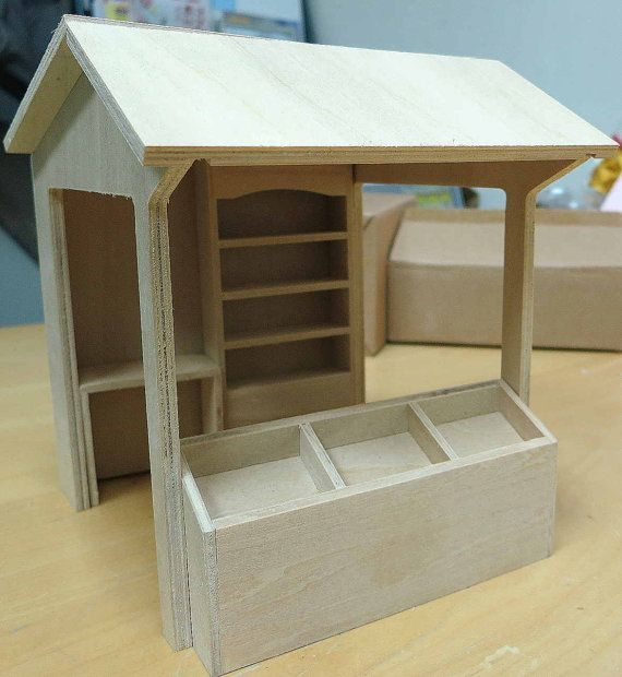 Flat Packed 1.12 Scale Market Stall Kit Dolls House Miniature Doll House Shop
