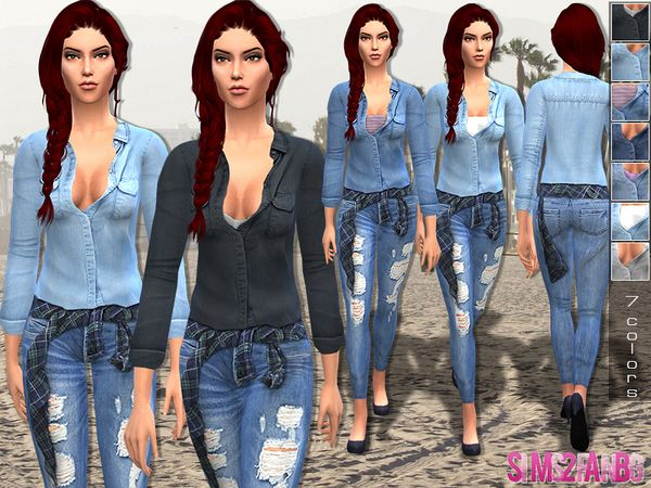 The Sims Resource: Denim outfit by Sims2fanbg • Sims 4 Downloads