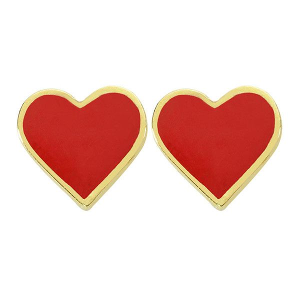INTUA DIAMOND Mini Heart Earrings with Red Enamel (€210) ❤ liked on Polyvore featuring jewelry, earrings, accessories, red enamel earrings, 14k stud earrings, heart shaped diamond earrings, red diamond earrings and diamond heart earrings