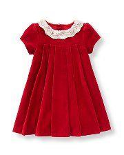 82e6f1df3 Lace Collar Velveteen Dress | Baby Goodman | Girls christmas dresses ...