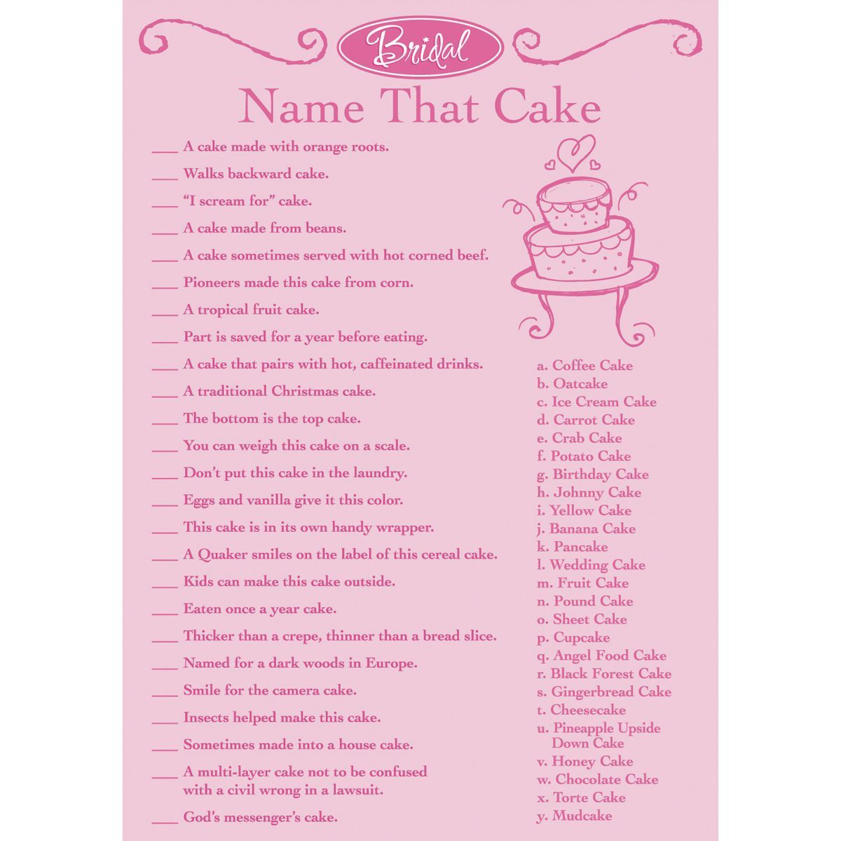 Wedding Registry Search By Name: Darice Bridal Game Sheets 50/Pkg Name That Cake