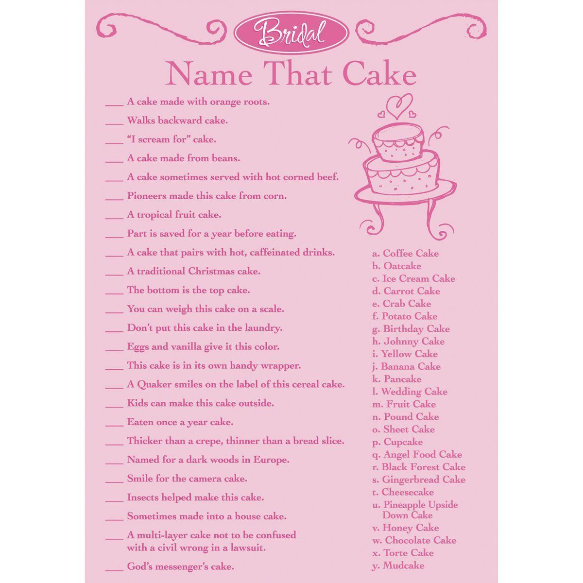 Darice Bridal Game Sheets 50/Pkg Name That Cake (Name That Cake ...
