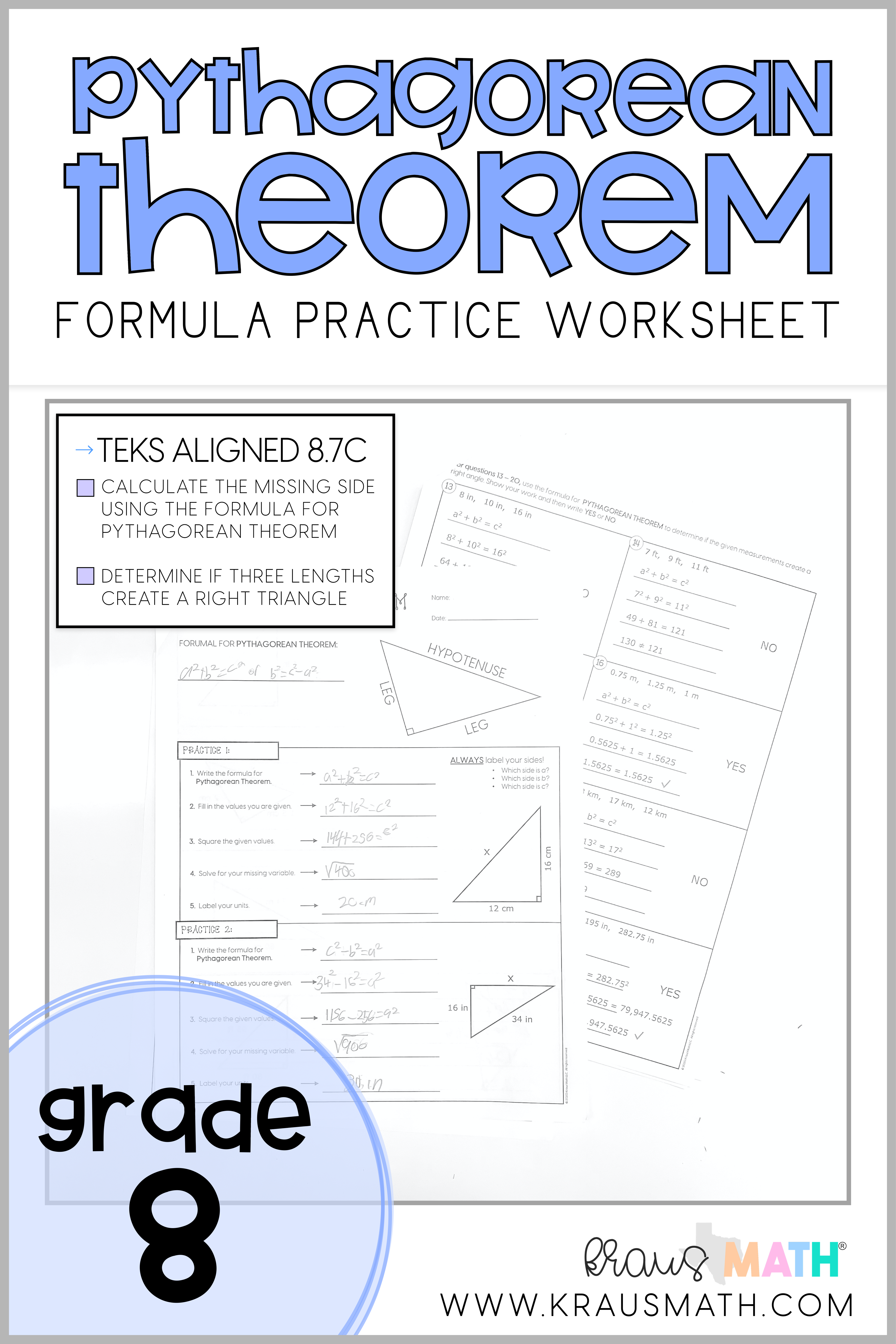 Pythagorean Theorem Guided Practice Worksheet   TEKS 8.7C   Kraus Math    High school math lessons [ 6250 x 4167 Pixel ]