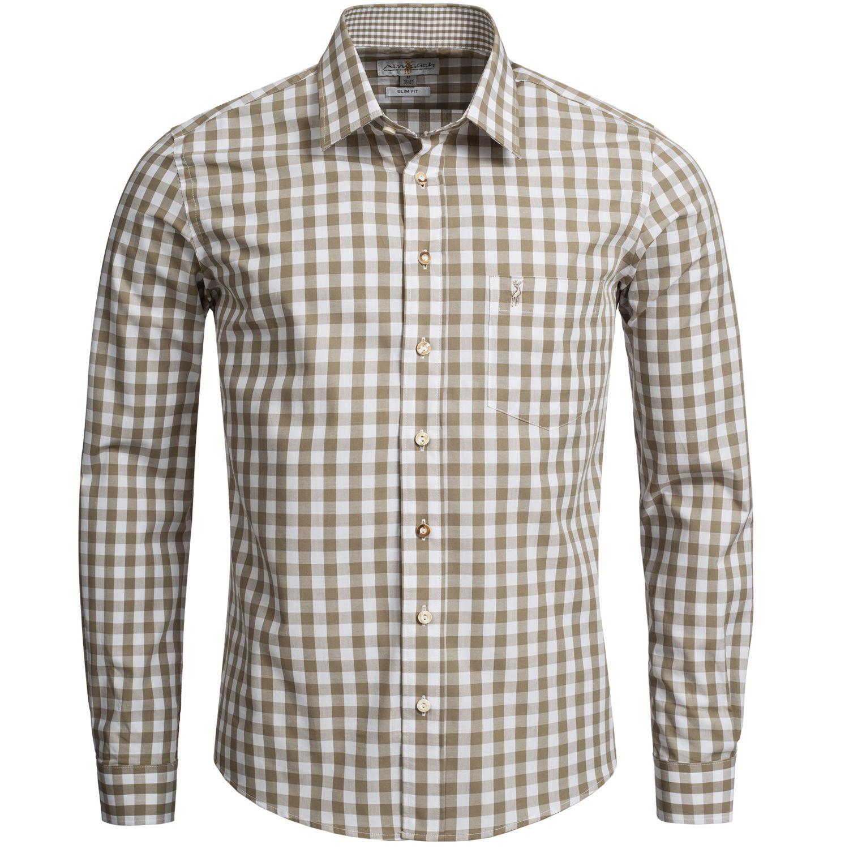 Trachtenhemd Slim Fit in Beige von Almsach