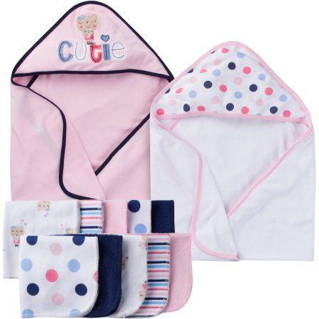 92318e3369c7 Gerber Newborn Baby Girl Towel and Washcloths Bath Gift Set, 12-Piece
