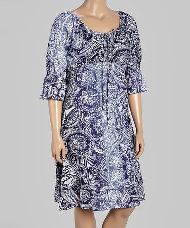 ca69b27776ba Love this Blue Plate Blue Ombré Paisley Peasant Dress - Plus by Blue Plate  on