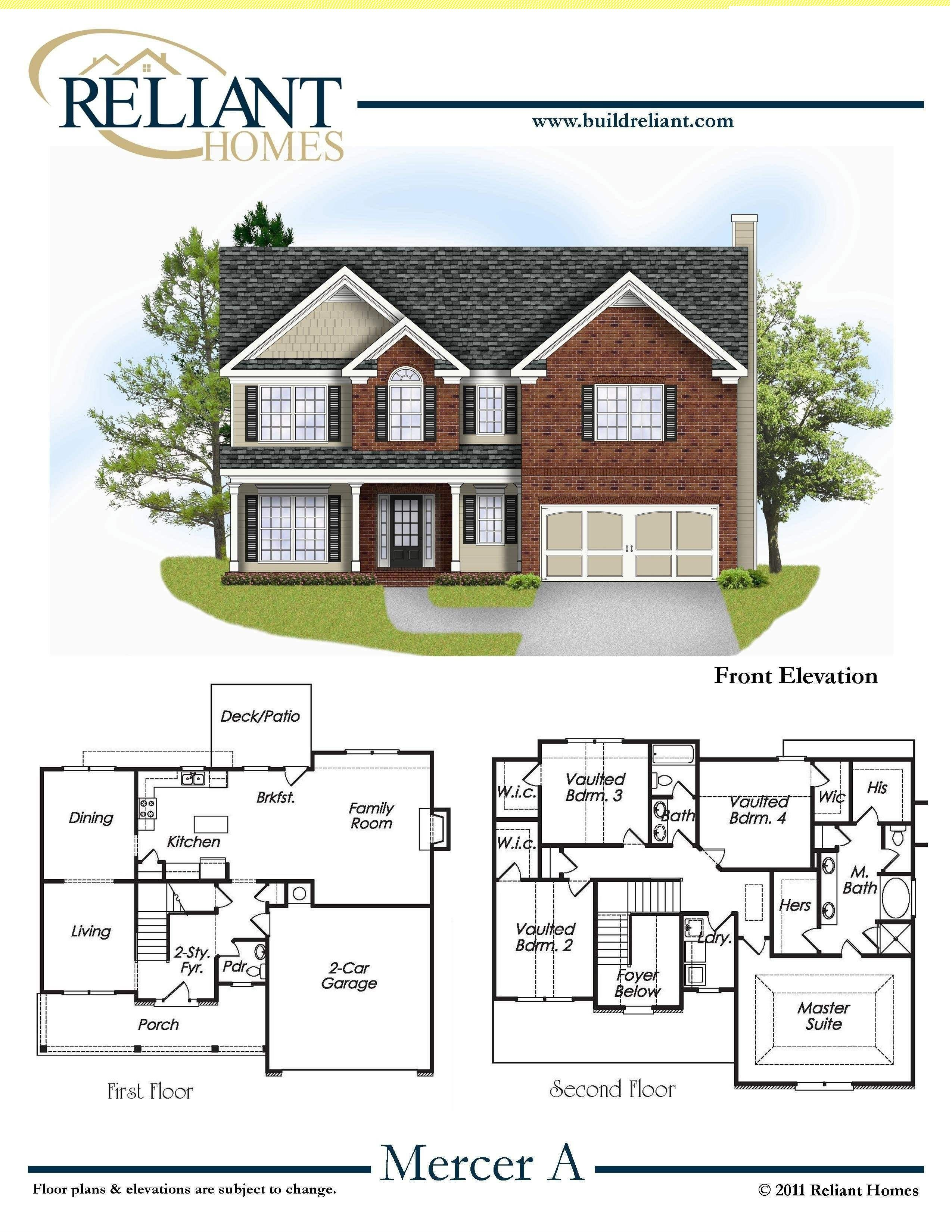 Reliant Homes | The Mercer Plan | Floor Plans | Homes | Homes for ...