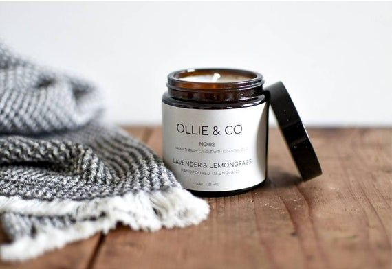 No.02 Lavender + Lemongrass Aromatherapy Candle Amber Jar by Ollie +Co》Essential Oils #aromatherapycandles