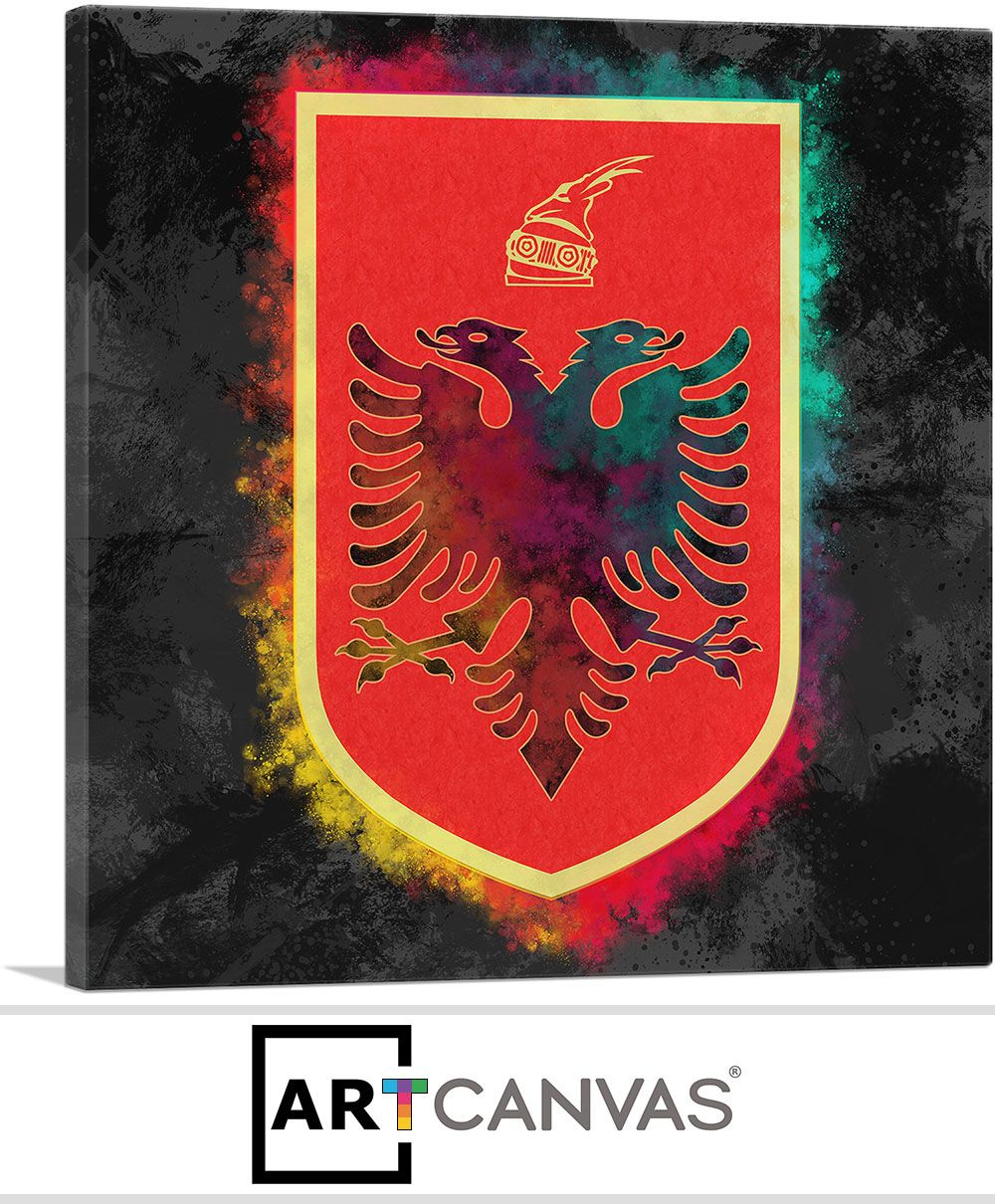 Albanian Coat Of Arms With Colorful Glow Canvas Art Canvas Art Prints Art