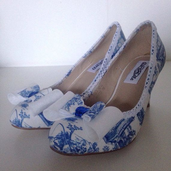 Dr Who shoes, darlek shoes, tardis shoes, ladies shoes, wedding shoes, quirky heels, low heel shoes, something blue, blue white wedding shoe